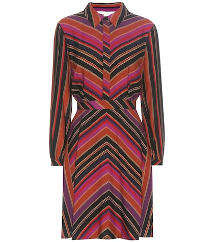 diane von furstenberg female chrissie striped silk and wool twill dress