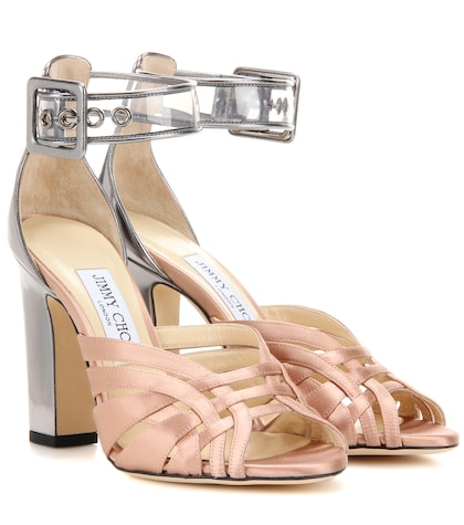Tristen 100 satin and leather sandals