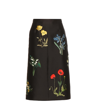stella mccartney female embroidered cotton and silkblend skirt