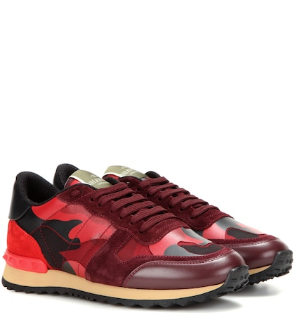 Rockrunner Printed Leather, Fabric And Suede Sneakers