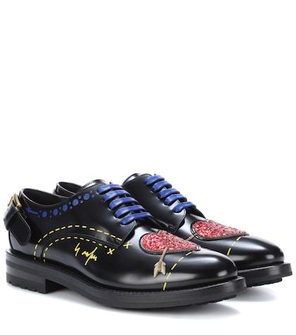 Embellished leather Derby shoes