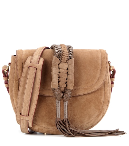 altuzarra female ghianda knot saddle suede shoulder bag