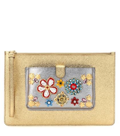Exclusive to mytheresa.com – embellished metallic leather clutch