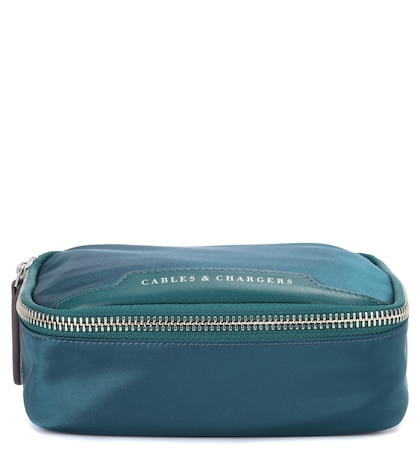 Fabric and leather cosmetic case