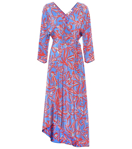 Printed asymmetric wrap dress