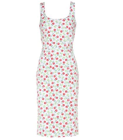 Floral-printed denim dress