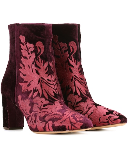 Regina embroidered velvet ankle boots