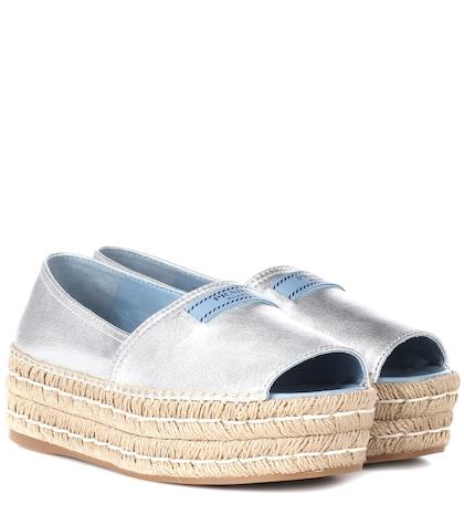 Leather open-toe espadrilles