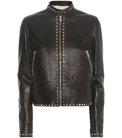 valentino female rockstud untitled leather jacket