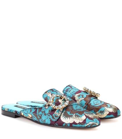 Embellished jacquard slippers