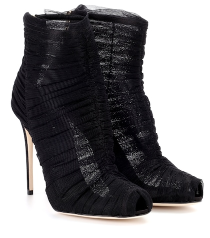 Tulle ankle boots