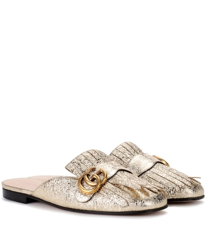 Metallic leather slippers