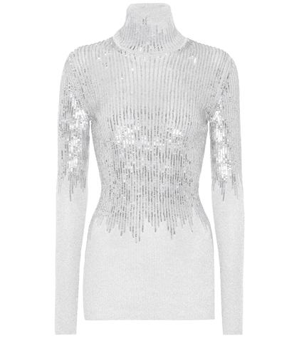 Sequined turtleneck sweater