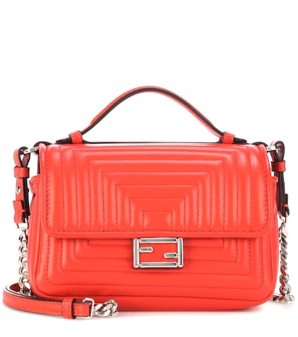 fendi female double micro baguette leather shoulder bag