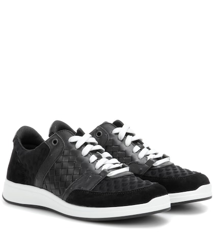 bottega veneta female intrecciato leather and suede sneakers