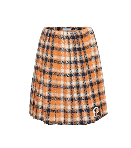 Wool tweed pleated skirt