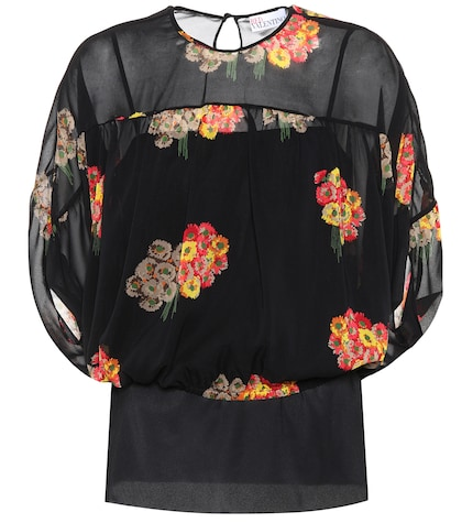 Floral-printed silk top