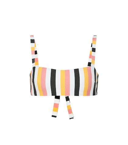 Striped wrap bandeau bikini top