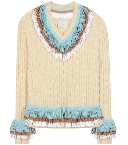 Embellished cashmere and cotton sweater