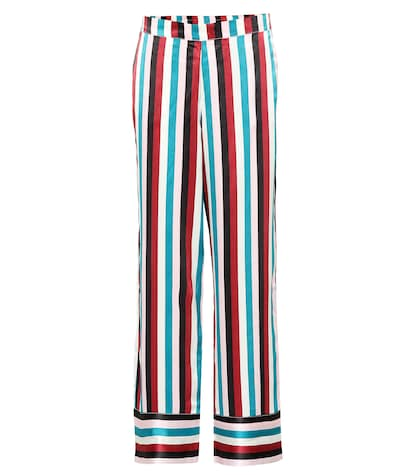 Striped silk pajama pants