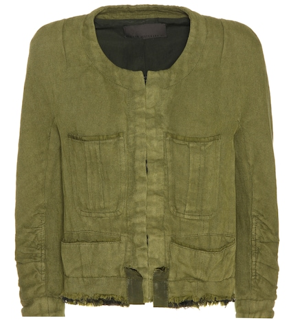 Cotton and linen cropped jacket