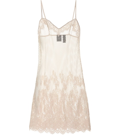 Mesh and lace slip dress