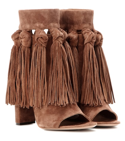 Tasselled suede ankle boots