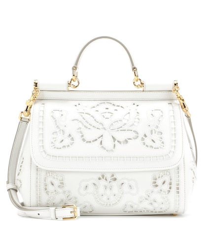 dolce gabbana female sicily medium embroidered leather tote