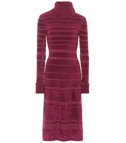 agnona female striped highcollar dress