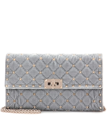 Rockstud Spike Small Velvet Clutch