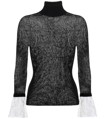 Lace-trimmed turtleneck sweater