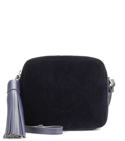 anya hindmarch female smiley crossbody velvet bag