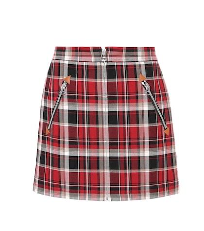 Plaid cotton miniskirt