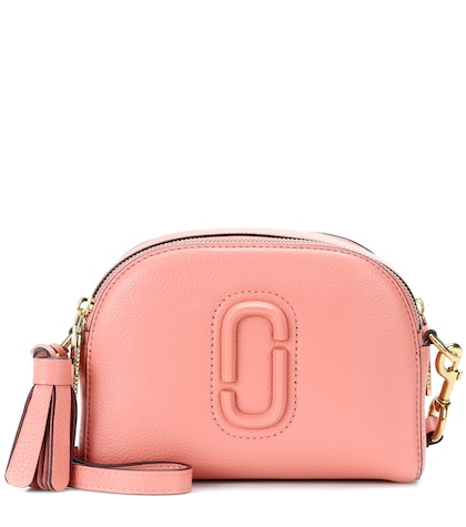 Shutter leather crossbody bag