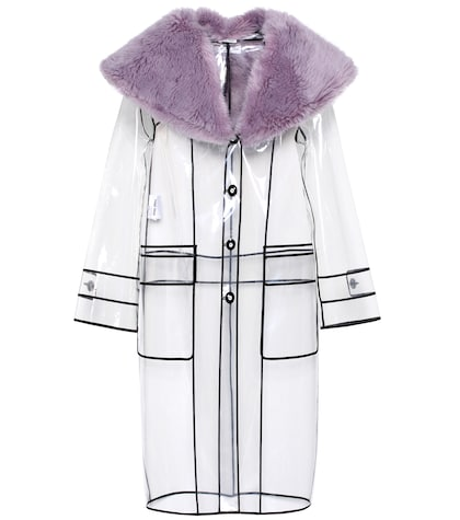 Faux fur-trimmed raincoat