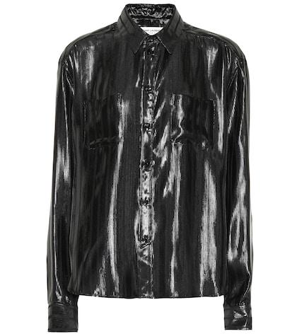 Silk-blend lam� shirt