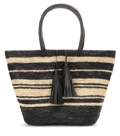 Leather-trimmed Raffia Shopper