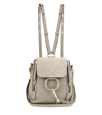 Faye Mini leather and suede backpack