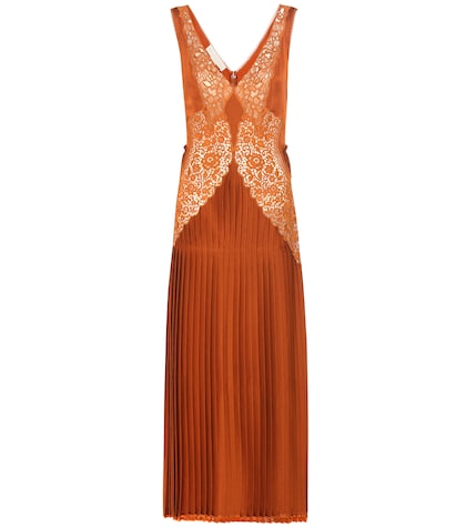 stella mccartney female pleated lacepanelled dress