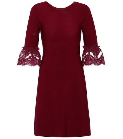 Wool lace-trimmed dress