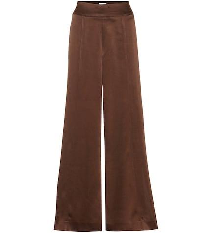 Pantalon évasé Naia à taille haute en satin