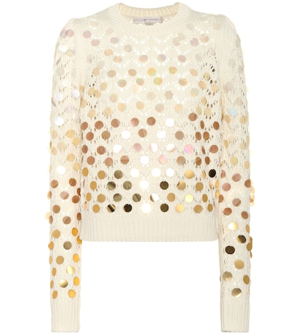 Embellished wool and cashmere sweater