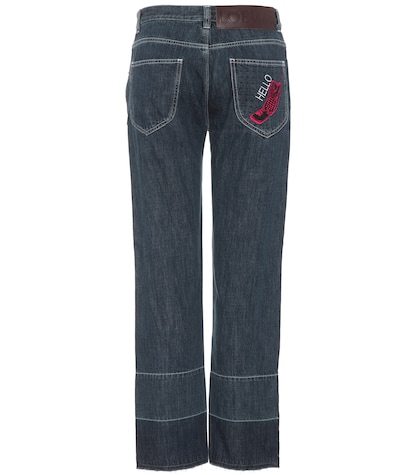 Embroidered high-waisted jeans