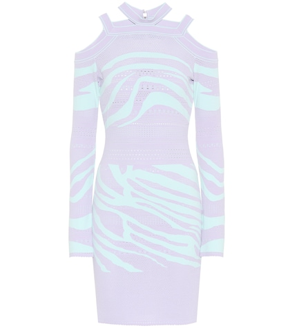 Cutout zebra sweater dress