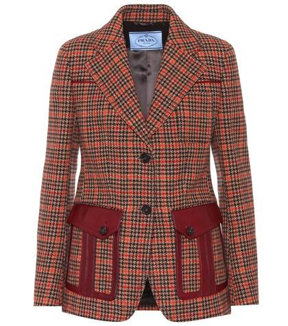 Houndstooth wool-blend jacket
