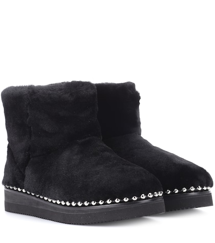 alexander wang female fur ankle boots