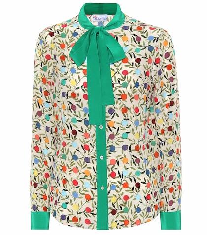 Rosebud silk pussy-bow blouse