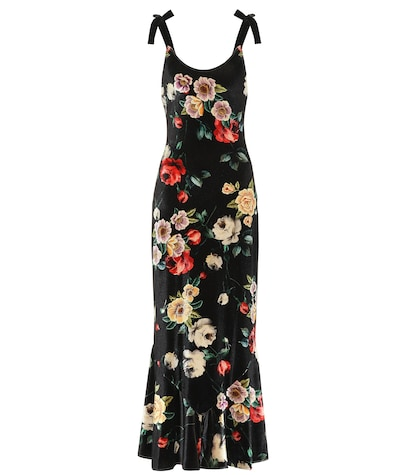 Floral-printed velvet dress