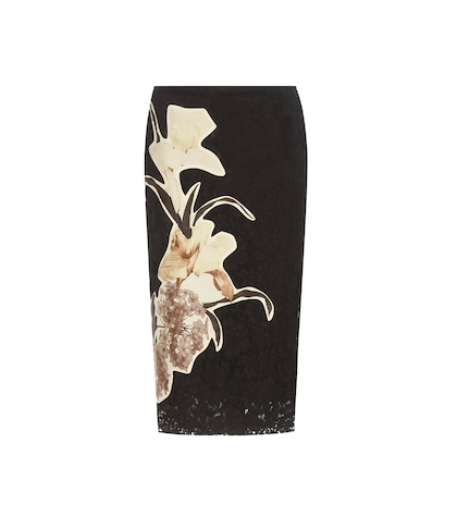 Lace skirt with floral appliqué