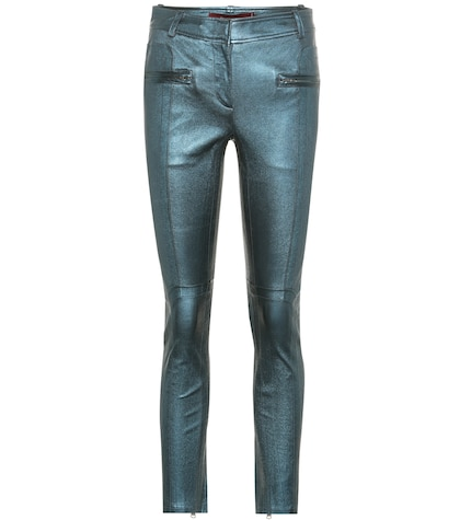 Louisa metallic-leather trousers